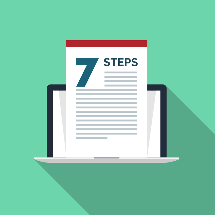 A laptop revealing 7 steps to great blog writing