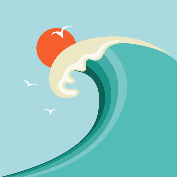 The crest of a wave, seagulls and sunset