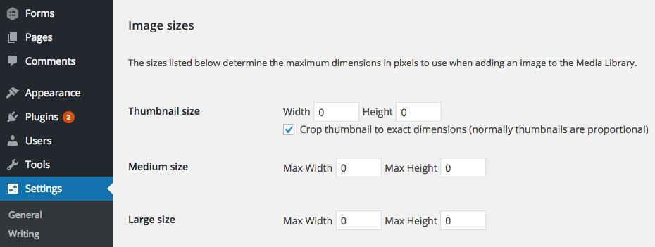 Screengrab - WordPress default image sizes