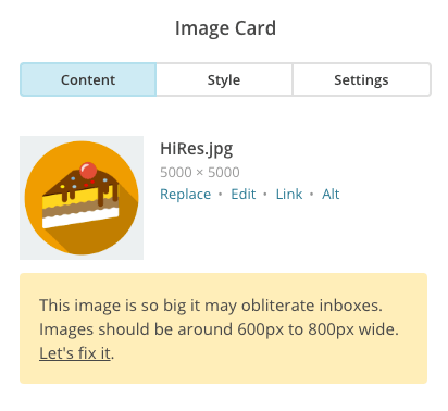 Screengrab of large MailChimp image