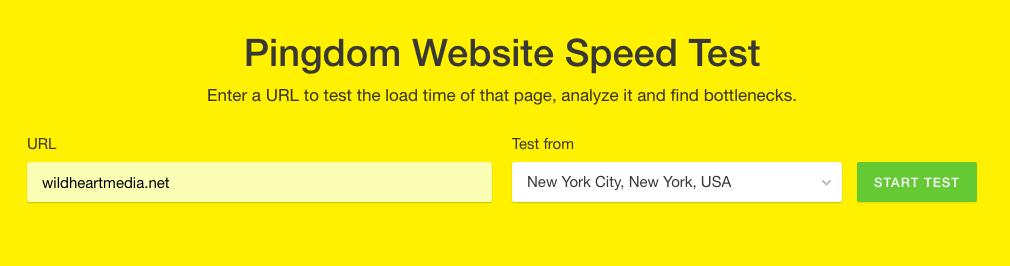 Screengrab - Pingdom speed test