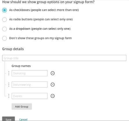 MailChimp screengrab - creating groups