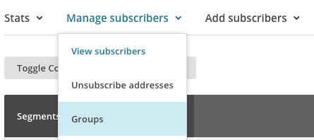 MailChimp screengrab - selecting groups
