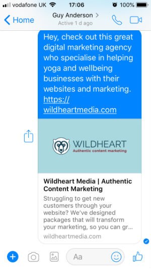 Link sharing in FB Messenger